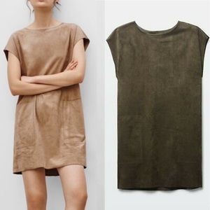 ARITZIA Nori Faux Suede Mini Shift Dress Olive S